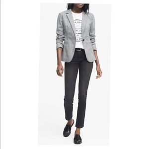 Long and Lean Unstructured Wool Blend Knit Blazer